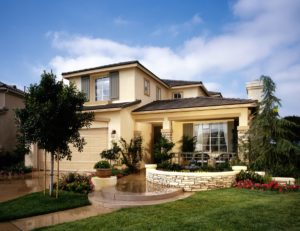 Family home with landscaped front yard