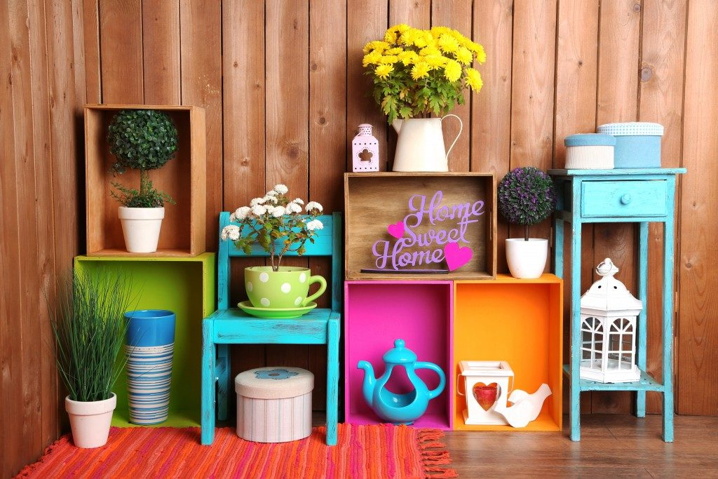 Colorful objects and furniture