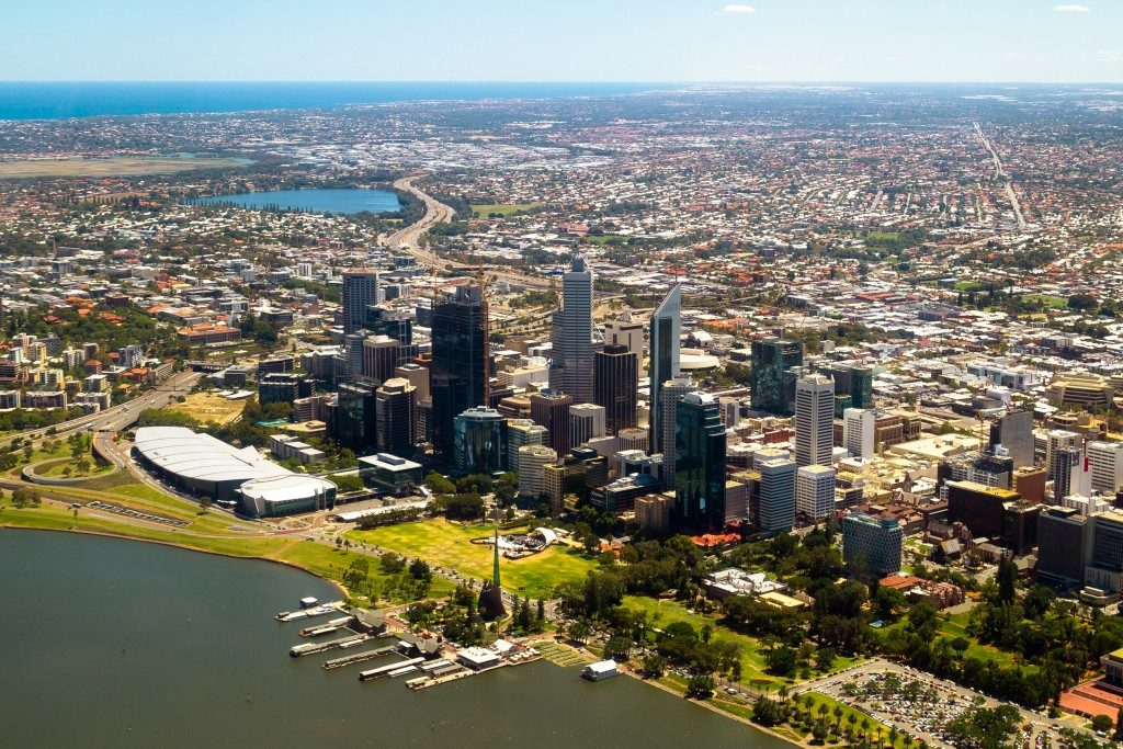 Aerial view of Perth city skyline, Western Australia