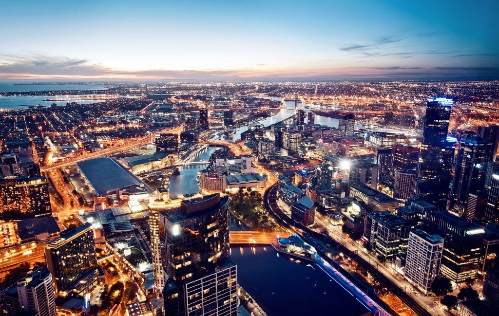 A view of Melbourne, Australia at night