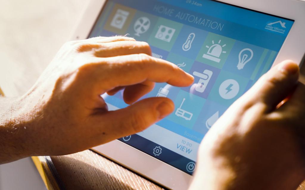 man using a smart gadget